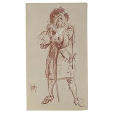 Jules Cheret Crayon Drawing on Paper, Man with Staff