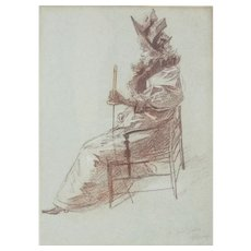 Jules Cheret Crayon Drawing on Paper, Elégante Assise