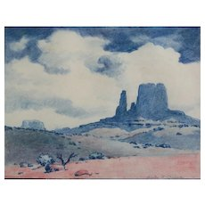 Charles Hamilton Owens Crayon Drawing Monument Valley
