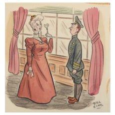 1942 Bill King American ORIGINAL Watercolor & Drawing Cartoon Comic