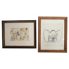 2 Drawings Attributed to Disney Dumbo concept sketches c1940