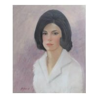 Mid Century Kaufman Pastel on board, Portrait of young woman