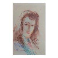 Marie Laurencin Pastel Impressionist drawing portrait of woman