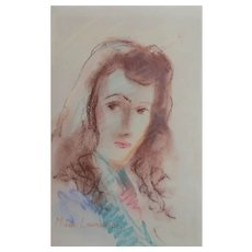 Marie Laurencin Pastel Impressionist drawing portrait of woman