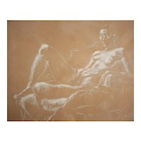 Robert Helm Kennicott White crayon Drawing, Reclining Nude