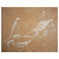 Robert Helm Kennicott White crayon Drawing, Reclining Nude
