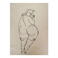 Vilim Svecnajk Abstract Pen and Ink Sketch Nude woman Gratiosa
