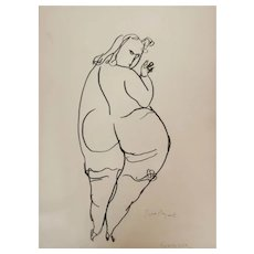 Vilim Svecnajk Abstract Pen and Ink Sketch Nude woman Gratiosa