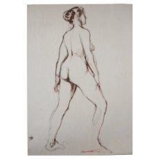 Emil Kosa Jr California Sepia pen and ink Drawing Nude Figure 1923