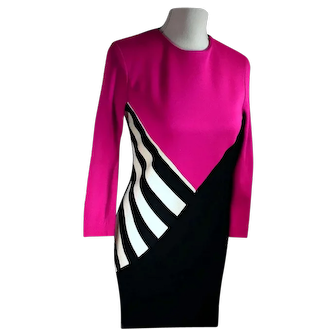 Vintage 80's Jessica Howard by Mitchell Rodbell Petite Hot Pink / Black / White Fitted Dress Made in USA