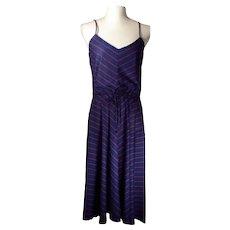 Vintage 70's Bill Bernam California Styled by Jody Schwartz Dress Navy Blue w/ Red Chevron Stripes Made in USA