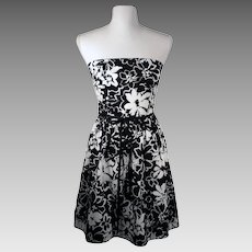 Vintage 90's As U Wish Strapless Black and White Floral Casual Dress Made in USA