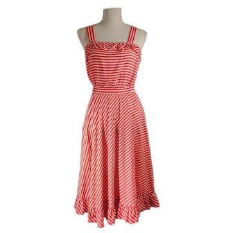 Vintage 60's Nancy Stevens New York Red and White Striped Classic Sun-Dress Made in USA