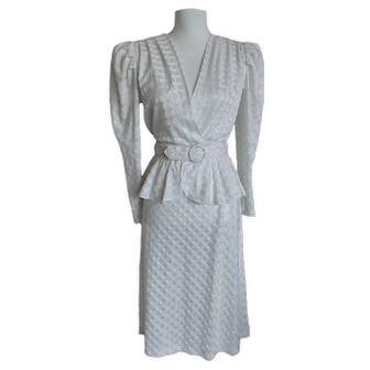 Vintage 70's Joni Blair of California Classic White Dress Made in USA