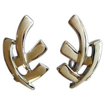 Vintage Signed Coro Screw-Back Silver-Tone Earrings Hand-Painted Cream Color 1950's Made in USA