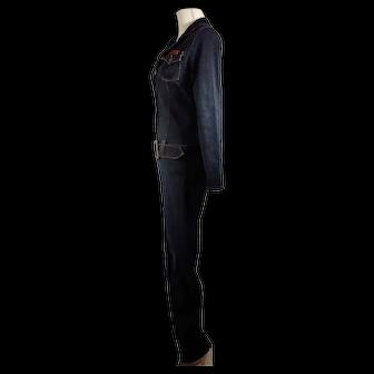 Vintage Navi Authentic Jeanswear Brand Dark Blue Denim Jumpsuit Made in USA