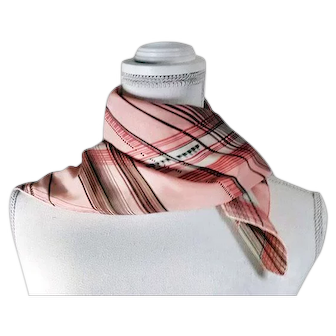 Vintage 70's Fashion Scarf Pink with Multi-color Stripes / Designs W/ Tags Made in USA