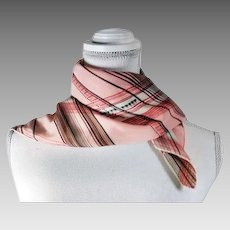 Vintage Fashion Scarf Pink with Multi-color Stripes / Designs Original Tags Made in USA