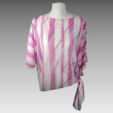 Vintage 70's Sheer Flowy Top w/ Side Tie Pink / Purple / Blue Striped WeToo California Brand Made in USA