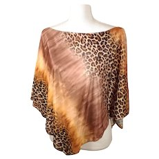 Vintage 70's TeeCo Brand Brown / Gold Cheetah Print Flowy Shawl Top w/ Original Tags Made in USA