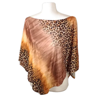 Vintage 80's TeeCo Brand Brown / Gold Cheetah Print Flowy Shawl Top w/ Original Tags Made in USA