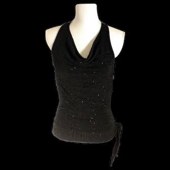 Vintage A. Byer Black w/Sparkle Velvety Halter Top Open Back Made in USA