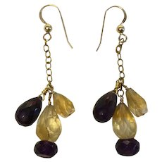 Amethyst and Citrine faceted gemstone earrings