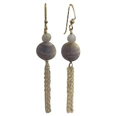 Blue Lace Agate earrings with Sterling Silver tassel