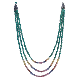 Faceted Turquoise and multi-colored Sapphire 3strand necklace