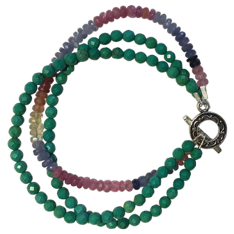 Bracelet with faceted Turquoise beads and mixed color Sapphire stones