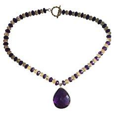 Faceted Amethyst and Citrine rondel with Amethyst pendant necklace