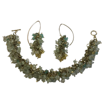 Aquamarine,Apatite, and Citrine faceted beads on gold-filled chain bracelet with earrings