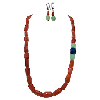 Long Carnelian necklace with Chalcedony inserts statement necklace