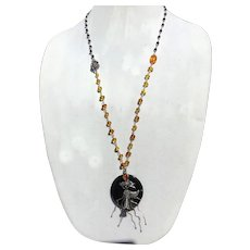 Amber, Onyx, and sterling silver fancy flower pendant necklace