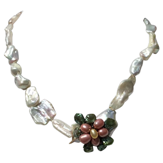 Pink Pearl flower with green pearl leaves on baroque pearl necklace