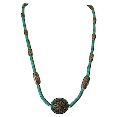 Turquoise heishi with Tibetan beads