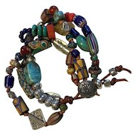 Boho blend trade beads with Lapis, Citrine, scarab, and malachite
