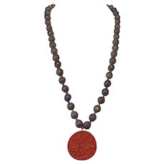 Vintage Chinese Cloisonne beads,hand knotted, with Cinnabar pendant long necklace