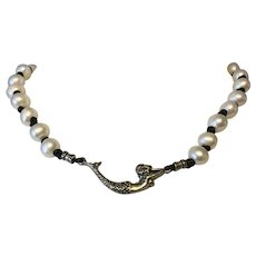 Creamy white pearl choker with Sterling Silver mermaid center focal