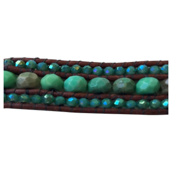 Chrysocolla rondelle bracelet hi lighted with Chinese crystals