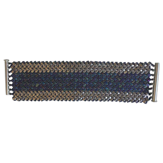Wide cuff blue and silver colored 1/2 tila handwoven bracelet
