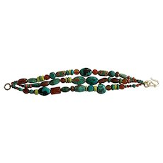 Bracelet of Turquoise, cornelian, gaspeite ,  and some select Tibetan beads and a few others