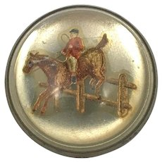 Antique Glass Domed Brass Horse Bridle Rosette Pin/Brooch