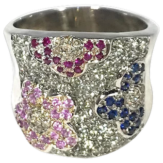 14K White Gold Multi Colored Sapphires, Rubies and Diamonds Ring