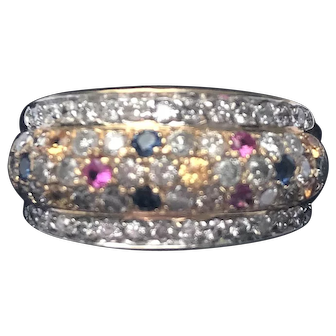 14kt Yellow Gold Ladies Band/Ring with Diamonds & Multi Colored Sapphires