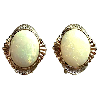 14k Yellow Gold, Diamond and Natural Opal Earrings