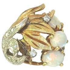 18k Yellow & White Gold, Diamonds and Opal Leaf Pattern Ring