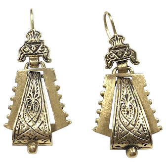 Vintage 14k Yellow Gold Wire Back India Theme Earrings