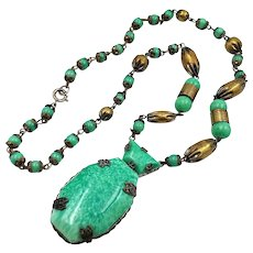 Art Deco Czech Marbled Green Glass Egyptian Revival Necklace