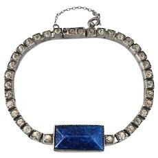 Art Deco Sterling Silver Bracelet with Faux Lapis Art Glass and Clear Paste Rhinestones